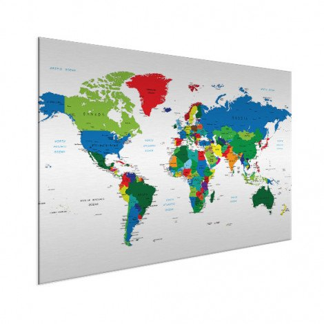 Weltkarte alle Länder Aluminium