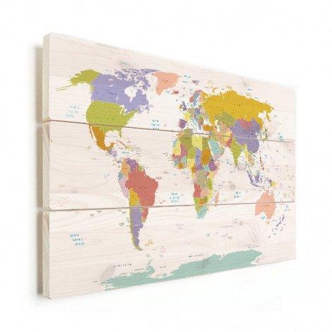 Weltkarte Pastellfarben Holz
