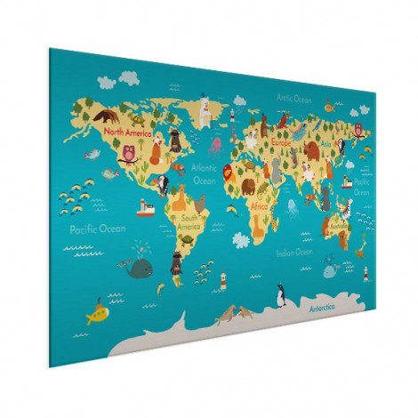 Weltkarte Kontinente & Meere Aluminium