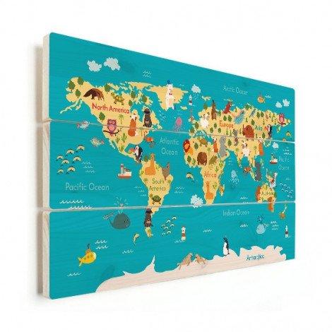 Weltkarte Kontinente & Meere Holz