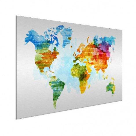 Weltkarte Aquarell bunt Aluminium