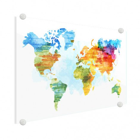 Weltkarte Aquarell Bunt Acrylglas Weltkarte Glas Alle Weltkarten