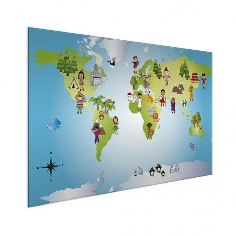 Weltkarte Kleine Freunde Aluminium