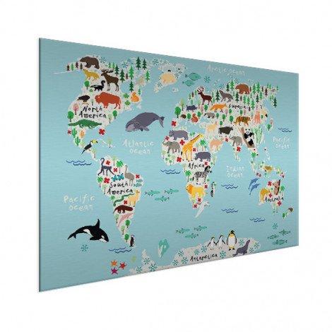 Weltkarte unser Tierreich Aluminium
