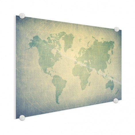 Weltkarte Pergament Grün Blass Acrylglas