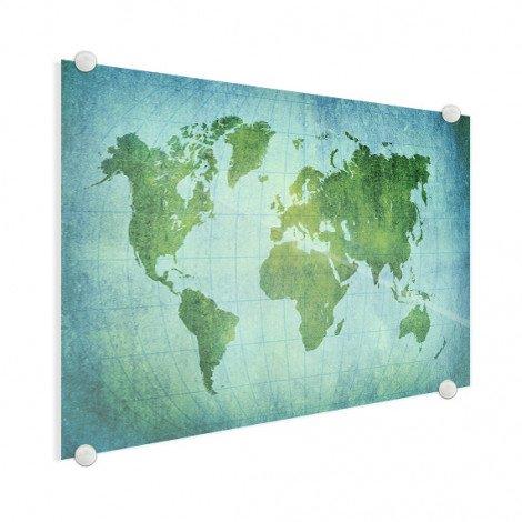 Weltkarte Pergament Kräftig Grün Acrylglas