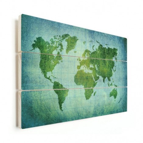 Weltkarte Pergament Kräftig Grün Holz