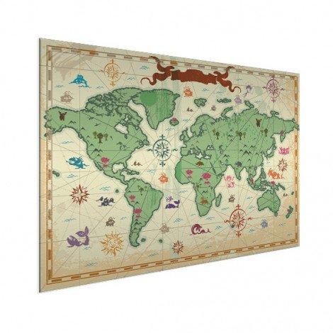 Weltkarte Schatzkarte Aluminium