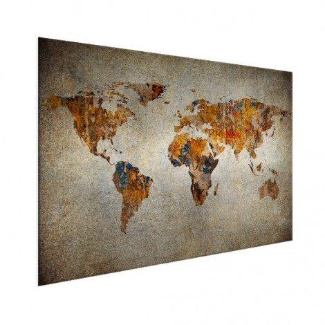 Weltkarte Malerei auf Stein Aluminium