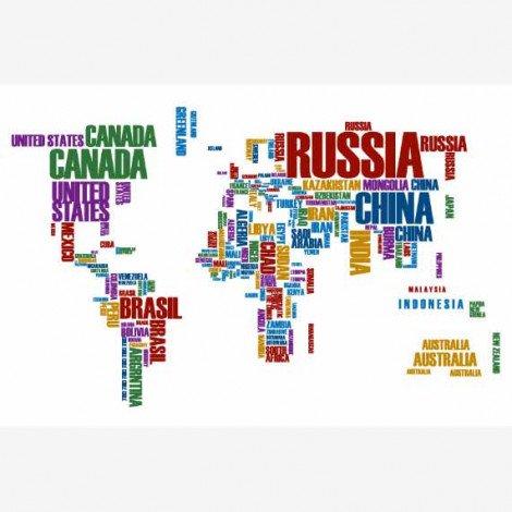 Weltkarte Text bunt Poster