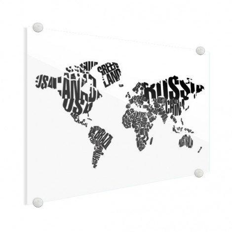 Weltkarte Text schwarz Acrylglas