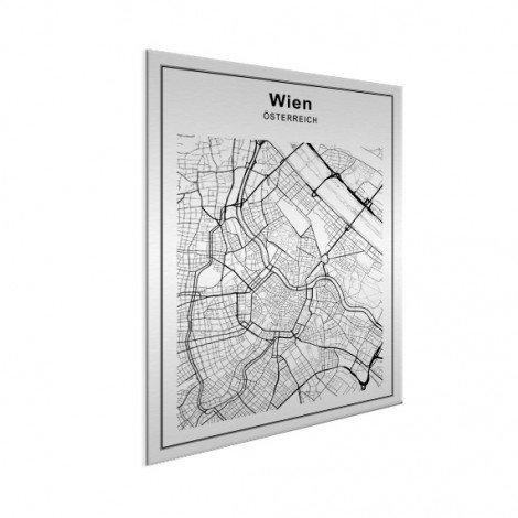 Stadtkarte Wien Schwarz-Weiß Aluminium