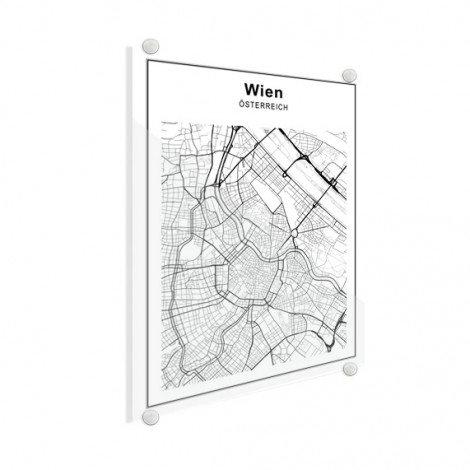 Stadtkarte Wien Schwarz-Weiß Glas