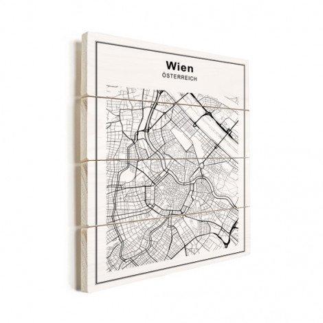Stadtkarte Wien Schwarz-Weiß Holz