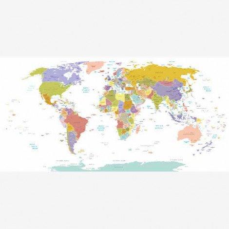 Weltkarte Pastellfarben Poster
