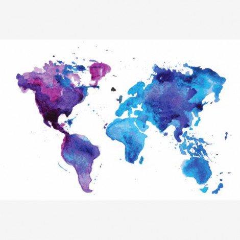 Weltkarte Aquarell blau Poster