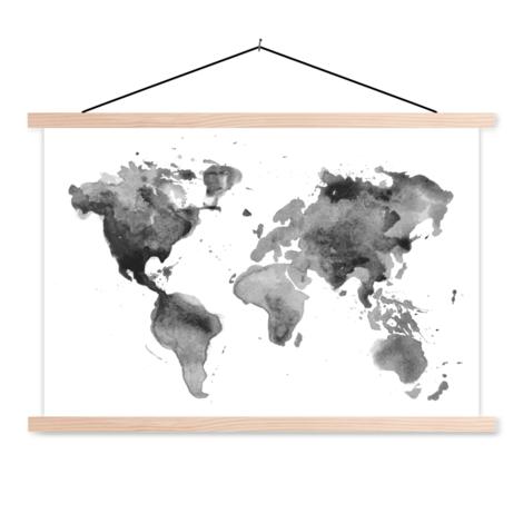Aquarel Schwarz-Weiß Textilposter
