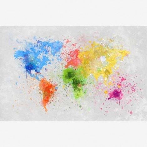 Weltkarte Farbspritzer bunt Poster