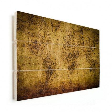 Weltkarte Kompass Holz