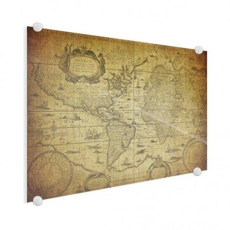 Weltkarte Illustration Acrylglas