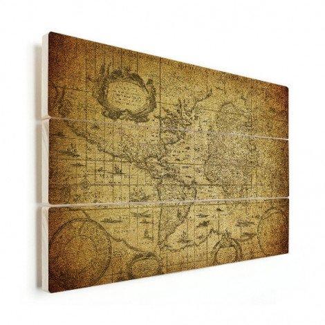 Weltkarte Illustration Holz