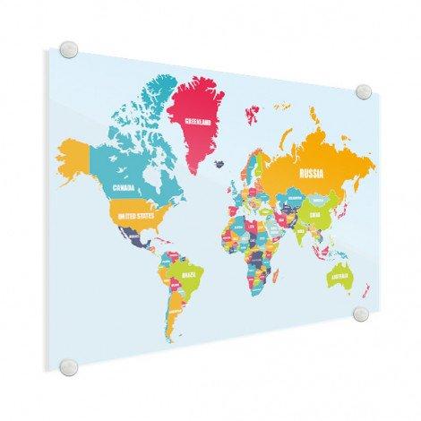 Weltkarte Ländernamen Acrylglas
