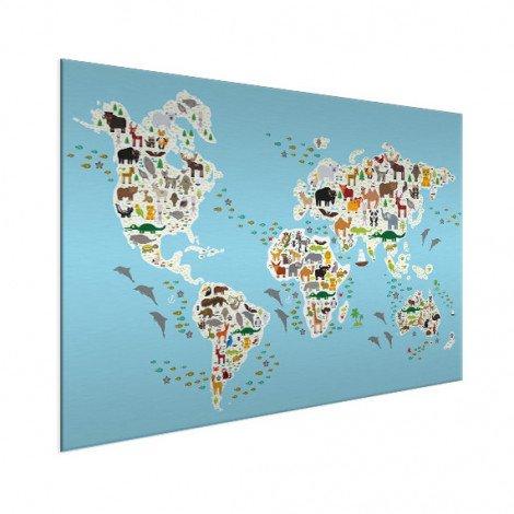 Weltkarte Fauna & Flora Aluminium