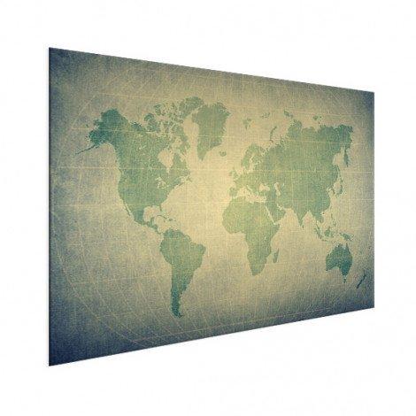 Weltkarte Pergament Grün Blass Aluminium