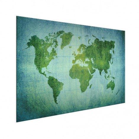Weltkarte Pergament Kräftig Grün Aluminium