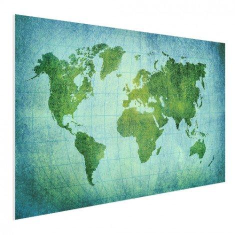 Weltkarte Pergament Kräftig Grün Poster