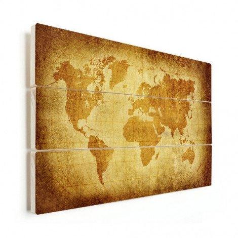 Weltkarte Pergament Holz