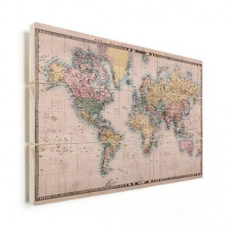 Weltkarte Realistisch Holz