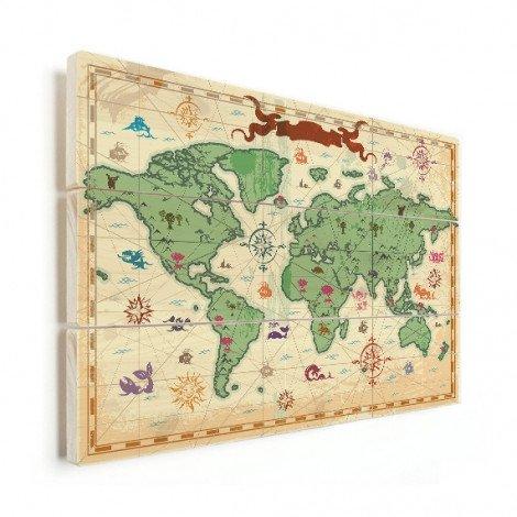 Weltkarte Schatzkarte Holz