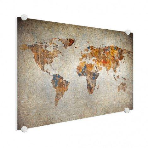 Weltkarte Malerei auf Stein Acrylglas