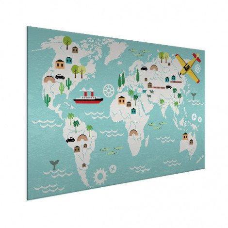 Weltkarte Technisch Aluminium