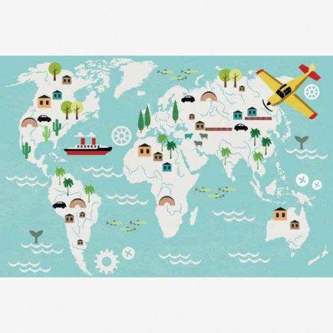 Weltkarte Technisch Poster