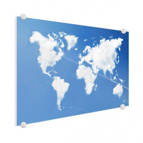 Weltkarte Wolken Acrylglas