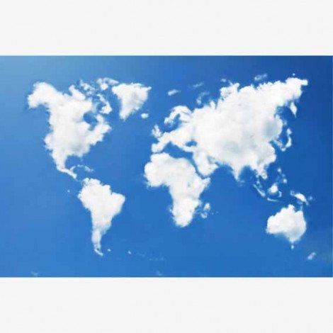 Weltkarte Wolken Poster