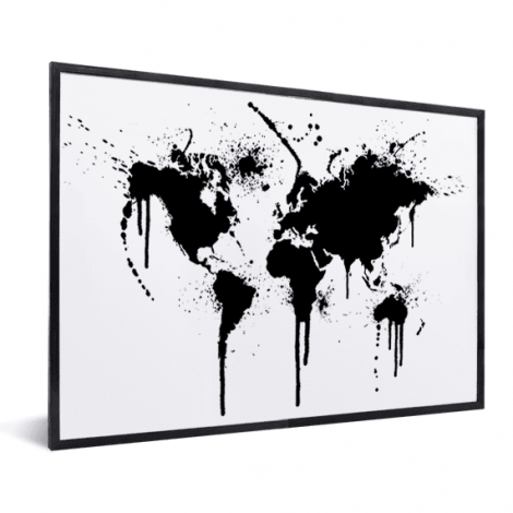 Weltkarte schwarze Tinte im Rahmen