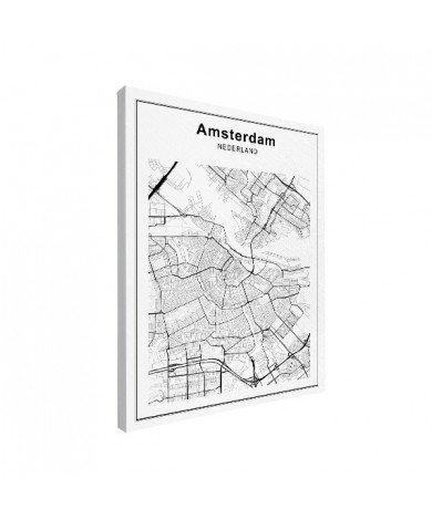 Stadtkarte Amsterdam Schwarz-Weiß Leinwand