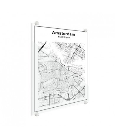 Stadtkarte Amsterdam Schwarz-Weiß Glas
