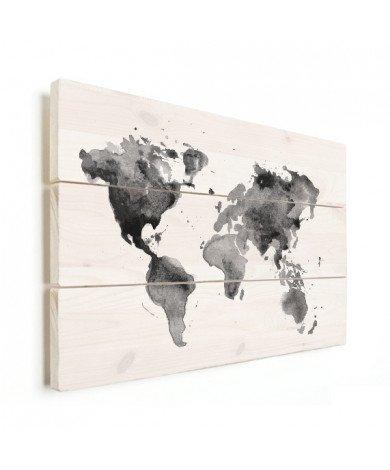 Aquarell Weltkarte Schwarz-Weiß Holz