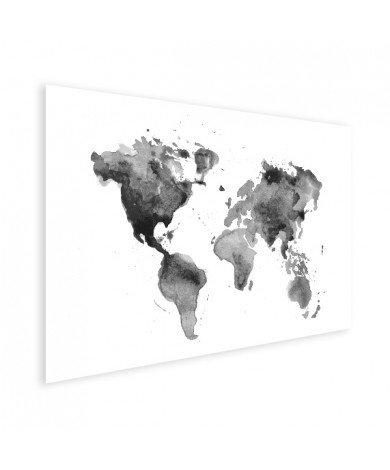 Aquarell Weltkarte Schwarz-Weiß Poster