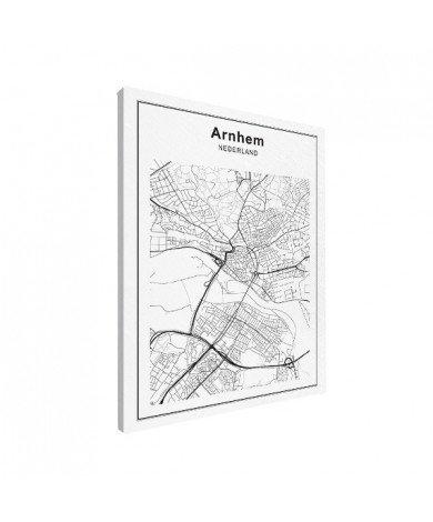 Stadtkarte Arnheim Schwarz-Weiß Leinwand