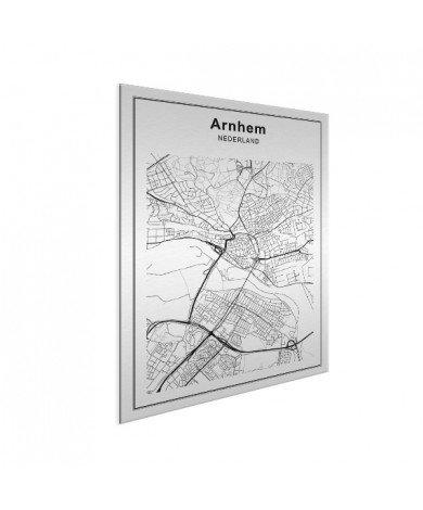 Stadtkarte Arnheim Schwarz-Weiß Aluminium