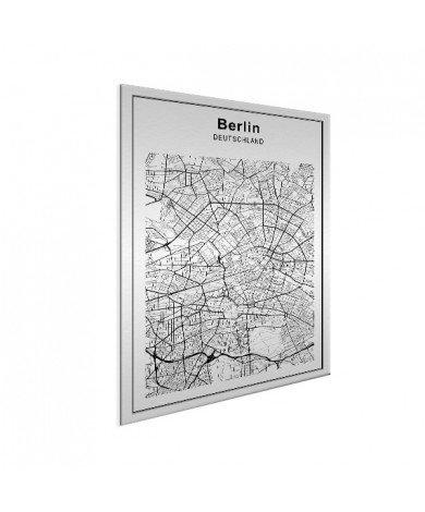 Stadtkarte Berlin Schwarz-Weiß Aluminium