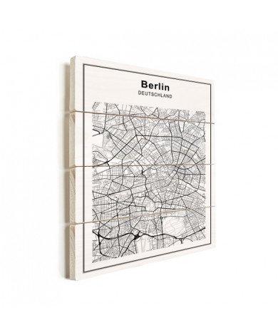 Stadtkarte Berlin Schwarz-Weiß Holz