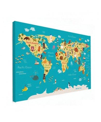 Weltkarte Kontinente & Meere Leinwand