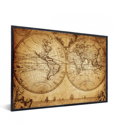 Weltkarte Seefahrt im Rahmen