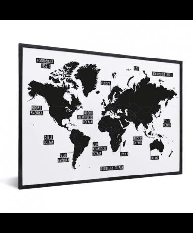 Einfache Weltkarte Schwarz-Weiß im Rahmen